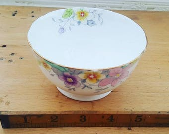 Vintage Wellington bone china sugar bowl, handpainted, 1930s, Art Deco
