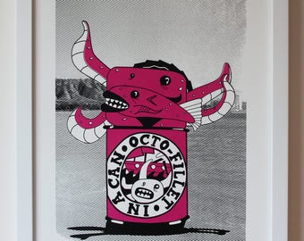 Screenprint A3 2 colour print Siz Evils No.1 Octo Fillet