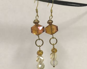 Orange & Gold Dangle Earrings