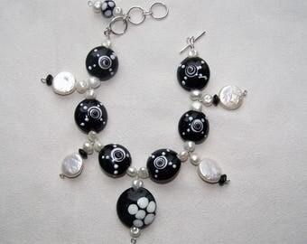 """Pearl & Lampwork Glass """"Domino"""" Bracelet"""