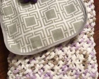 Hand Knitted Baby Lovie/Stroller Blanket