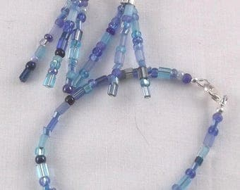 Blue Glass Beaded Dangle Earrings and Bracelet Jewelry Set