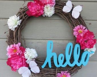 "Floral ""Hello"" Wreath"