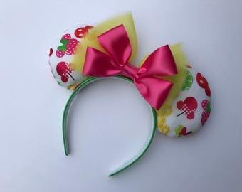 Disney Fruit Shaped Ears, Minnie Ears, Disney Fabric Ears,