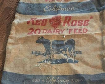 Red Rose Dairy Feed Sack, Rustic, upcycle, Vintage, New Hampshire, Burlap Bag, Cow