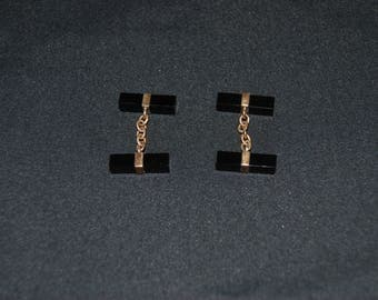 Vintage Black and Plated Gold Cuff Links