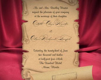 Scroll Wedding Invitation Card, Brown Vintage Wedding invitations, Rustic Style, Old Kraft Paper, Personalized Printing, Free Shipping