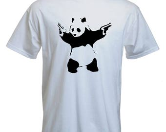 Banksy Tshirt-panda with guns tee-banksy-graffiti tshirt-festival Tshirt-beachwear-slogan Tee-statement tshirt-mens short sleeved Tee-