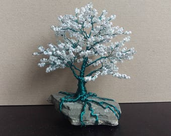 Small delicate tree of pearls in white and turquoise decorative gift tree of life