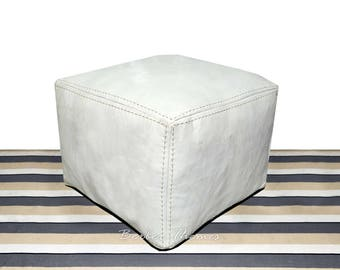 Moroccan Genuine Leather Pouffes Cover Square Handmade, Ottoman, White #PS009