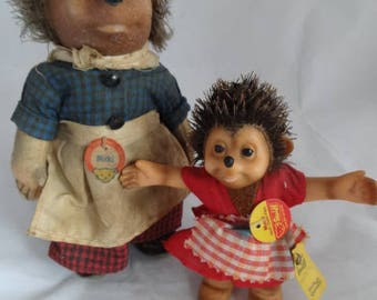 Germany 2 Steiff Figures Micki & Mucki, Stuffed Mohair Dolls, 1950's