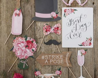 Boho Wedding Photo Props, Table Photo Props, Rustic Photo Props, Best Day Ever, Strike A Pose, Photo Booth Props