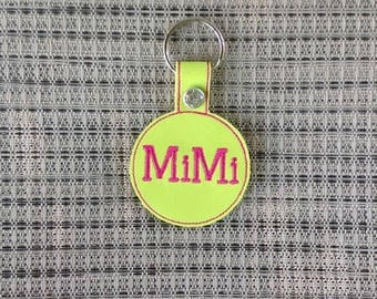 Mimi Embroidered Personalized Lime Green Vinyl /Leather Key Chain