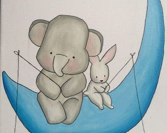 Ella and Fluffy- Custom Nursery Art, Baby Nursery Wall Decor, Baby Nursery Art, Elephant Nursery, Baby Elephant Decor, Grey Nursery