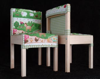 Childrens' Quilted Cushions for LÄTT Table & Chair Set - Farmyard Friends