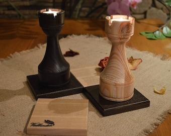 Candle Holder, Chess Decor, Wood Tea Light Holder, 2 Tea Light Holder