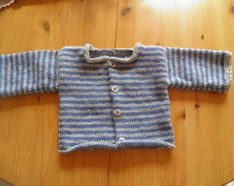Vest in blue and gray wool 3 months