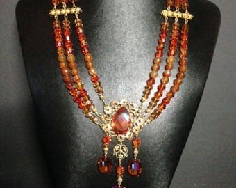 Astral Pink Snake Weave Necklace w Earrings