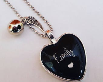 Birthstone FAMILY necklace-heart and Tinkerbell