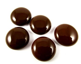 Chocolate Cabochon Parcel (5) 20 mm Fused Glass Cabochon Round Cabochon Brown Cabochon Jewellery Pendant Feature Handmade Cabochon