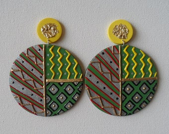 Hand painted African Ankara abstract earrings