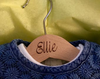 Children's Wooden Coat Hanger (font - Bells)