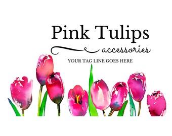 Tulip Logo, Floral Logo, Business Branding, Logo Graphics, Watercolor Roses, Watercolor Flowers, Chic Logo, Pink Logo