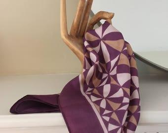 Vintage purple patterned silk bandana/ neck scarf