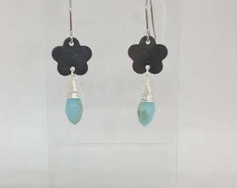 Handmade Stainless Steel Closed Flower Earrings w/ Blue Briolette Crystal Drops