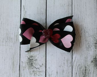 SALE Small Black Heart Bow