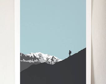 Alps I - Blue Sky A3 Giclée Print