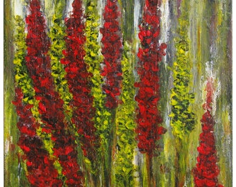 Giant lupins, abstract acrylic painting 24 x 30