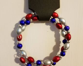 Red, Silver, & Blue Wrap Bracelet, Glass beads, Nickel-free Memory Wire