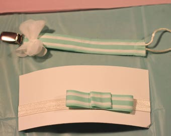 Striped Bow and Binky Clip