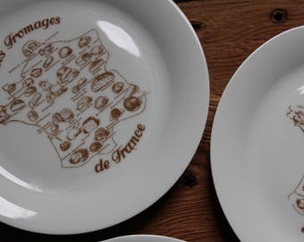 """Vintage cheese plates retro 80's.  6 plates """"Cheeses of France"""" culinary heritage"""