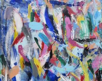 "Original acrylic on canvas, 16""x24"" wall art, Multicolored abstract, Varicolored & harmonic modern painting"