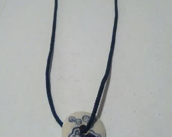 Vintage Blue And White Chinese Porcelain Pendant On String Necklace