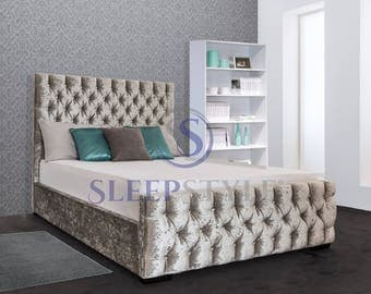 Glamour Upholstered Bed Frame - All Sizes - Fabric Of Your Choice - 3FT Single / 4FT Small Double / 4FT6 Double / 5FT Kingsize / 6FT