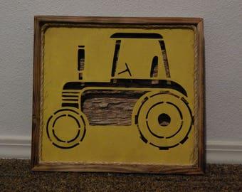 Tractor Wall art, nursery decor, John Deere, Farmer, Farming, Tractor, Wall Decor, Hanging wall decor, reclaimed wood, kids room decor,