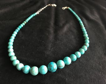 """18"""" Graduated Turquoise Bead Necklace"""