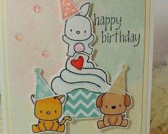Handmade Birthday card, hand stamped