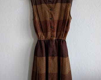 Vintage 80s brown striped professional dress, Great Fabric
