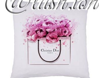 Pink peonies & CK christian dior inspired cushion cover