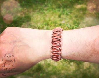 Leather Bracelet, leather bracelet, for woman and man, with magnetic closure, Brown