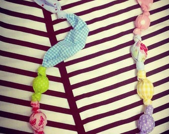 Handmade cotton necklace colourful