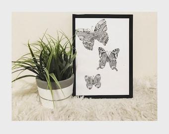 Triple Zentangle butterfly - Print