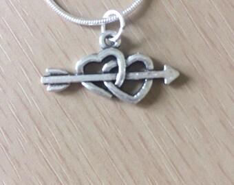Heart Arrow Silver Necklace