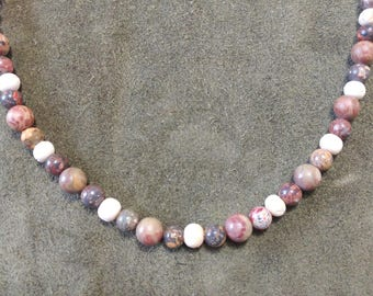Chinese Jasper and bone beaded necklace