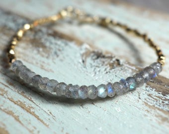 Bracelet - sterling silver or gold plated with semi precious stones
