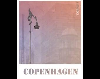 8x10 printable wall art, architecture photo, Copenhagen, Denmark, Scandinavia, Nordic, city collage, sculpture, dragon, pink, purple, modern